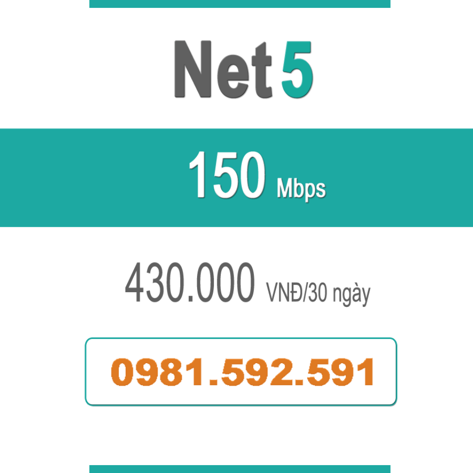 Gói Cước Net 5 – Plus – 150Mbps